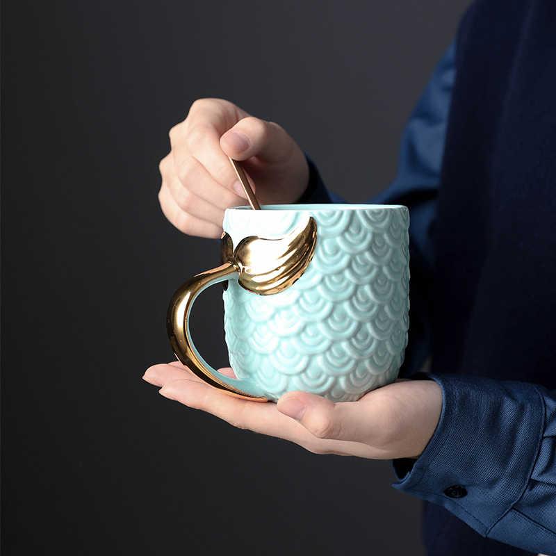 Креативные кофейные кружки с русалочкой, молочный чай, керамическая чашка для кофе с золотой ручкой, розовые, синие персональные кружки, подарок для пары, 420 мл