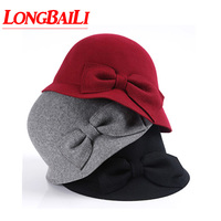 New Bow Wool Felt Bowler Hats For Women Chapeu Fedoras Top Hats Female Free Shipping PWSV003