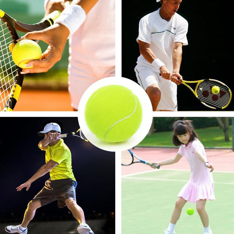 1pcs Rubber Tennis Ball Durable Tennis Practice Ball For Competition Training Exercises Elastic Fiber Rubber Outdoor Tennis Ball
