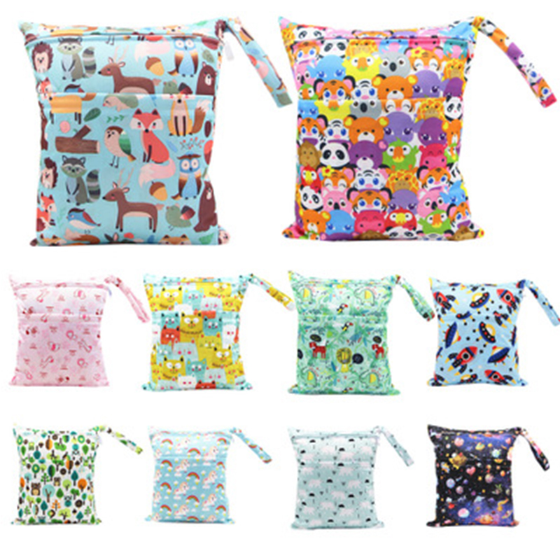 Newboorn Diaper Bag Kid Outdoor Waterproof Reusable Diapper Wet Bag Baby Double Zipper Cartoon Printing 30*36 Cm Dry Bags Wetbag