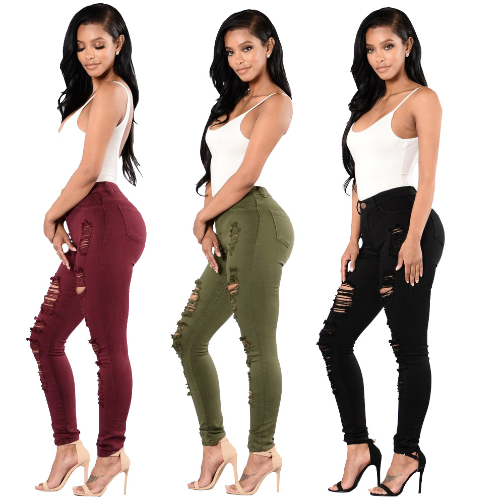 Hot Selling 2019 New Style Europe And America Beggar With Holes Jeans Women's Multi-color Trousers