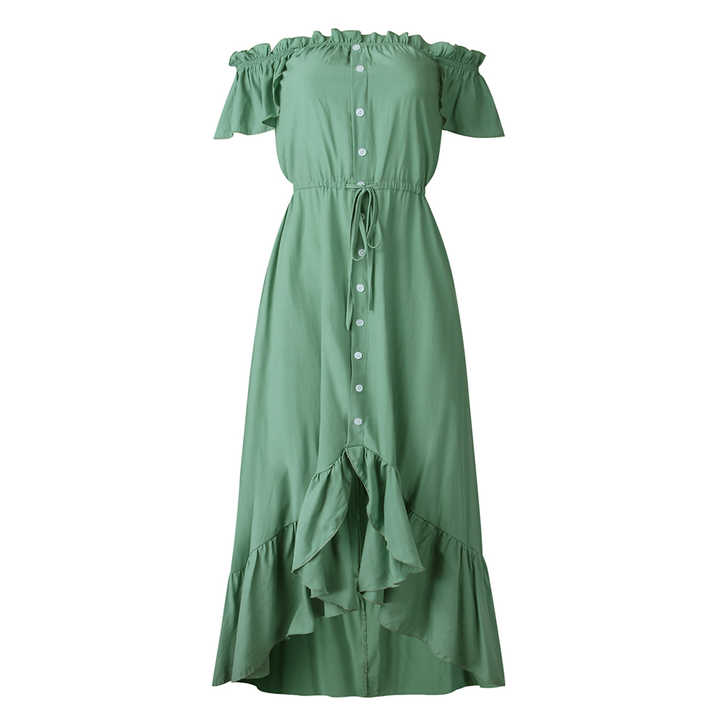 Dress Long Robe Elegant Off Shoulder Women Strapless Backless Ruffle Summer Sundresses Casual Ladies Fitted Maxi Clothing 2020 5