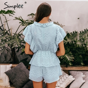 Image 4 - Simplee Elegant v neck ruffled blue women romper Summer short sleeve sashes chiffon jumpsuits Casual sweet ladies overalls 2019