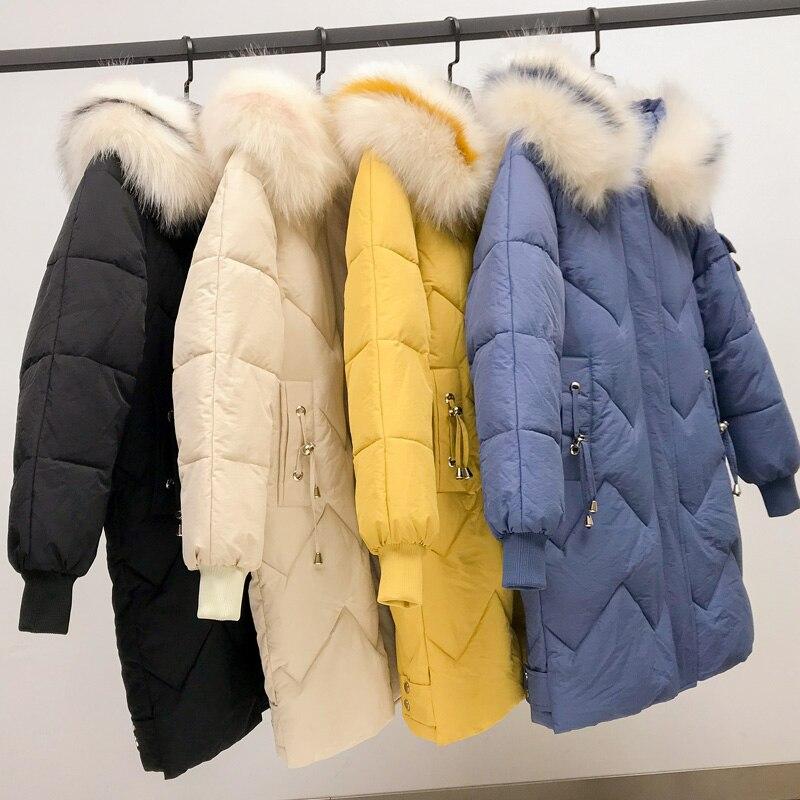 Winter Jacket Women Slim Solid Fur Hooded Wear Ladies Long Parkas Jacket Thick Warm Coat Plus Size