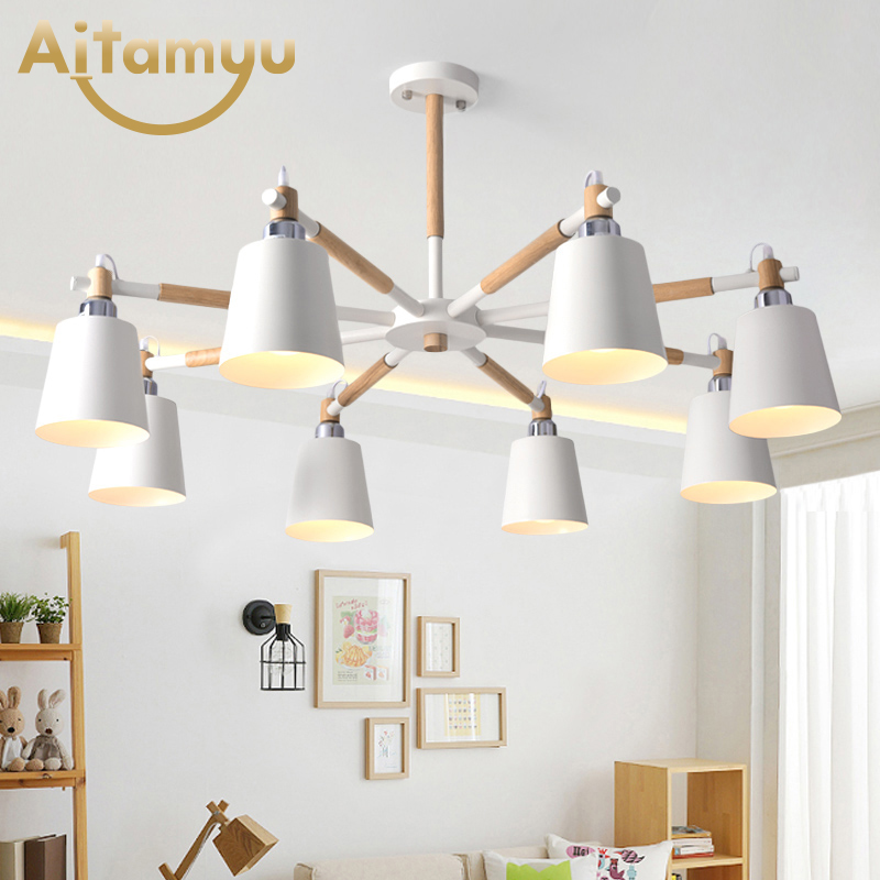 Modern Minimalist Living Room Wooden Chandelier Nordic Bedroom Solid Wood Wrought Iron LED