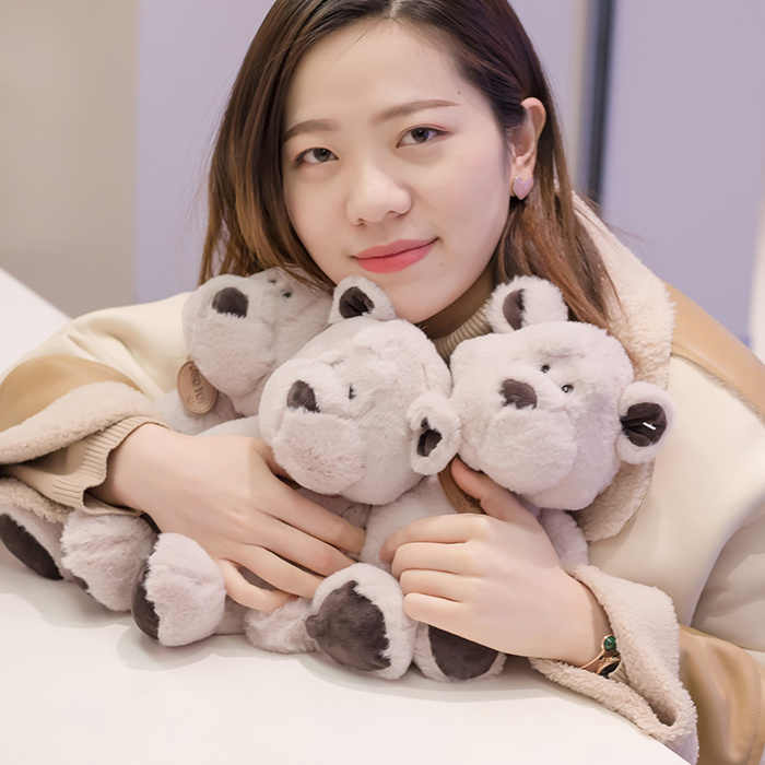 Morbido carino tre tipi di giocattoli di peluche animali Q Meng lupo orso cravatte arco hostess orso cuscino bambola decorazione di mobili divano cuscino