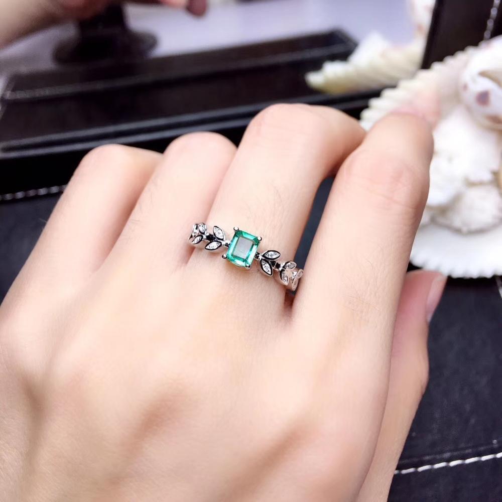 Feuille forme émeraude pierre gemme anneau pour femmes bijoux 100% naturel gemme 925 en argent sterling ornement fête t anniversaire cadeau vert - 4