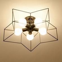 Lámpara de techo de dormitorio de estilo nórdico moderna personalidad led Luz de techo para la sala de estar de los niños de hierro arte estrella hogar iluminación