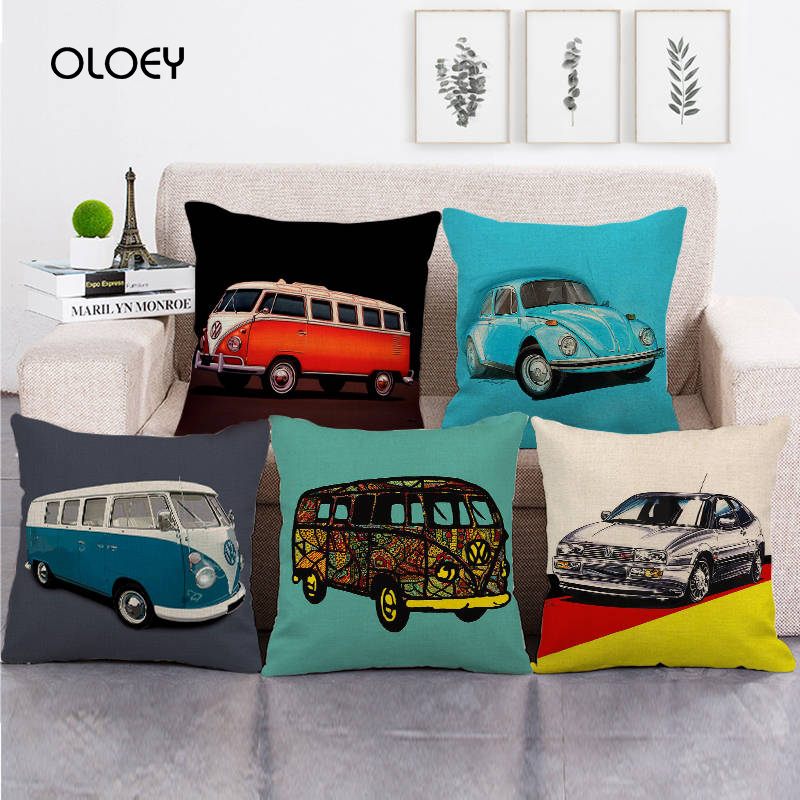 45cm * 45cm Watercolor Bus And Car Clothes / Cotton Polyester Cotton Pillowcase Home Bedroom Car Decoration Soft And Comfortable