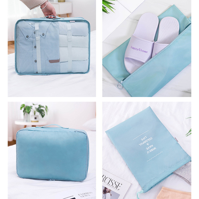 9-piece Suitcase Organize Storage Bag Portable Cosmetic Bag Clothes Underwear Shoes Packing Set High Quality Travel Makeup Bag 5