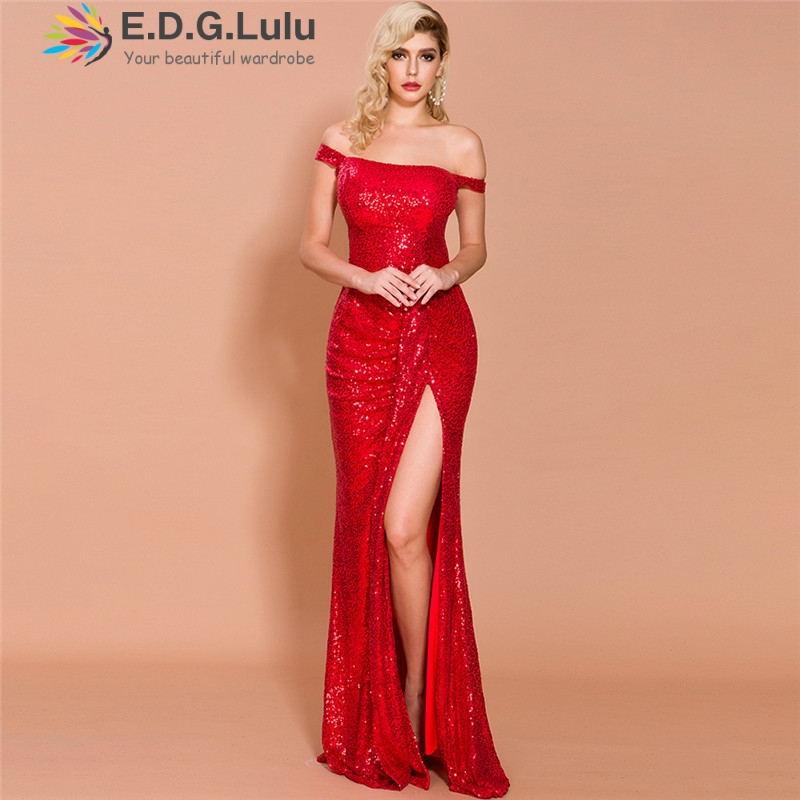 EDGLuLu sexy <font><b>dresses</b></font> party night club <font><b>dress</b></font> 2019 off the shoulder long red sequin <font><b>dress</b></font> high quality exposed back long <font><b>dress</b></font> image