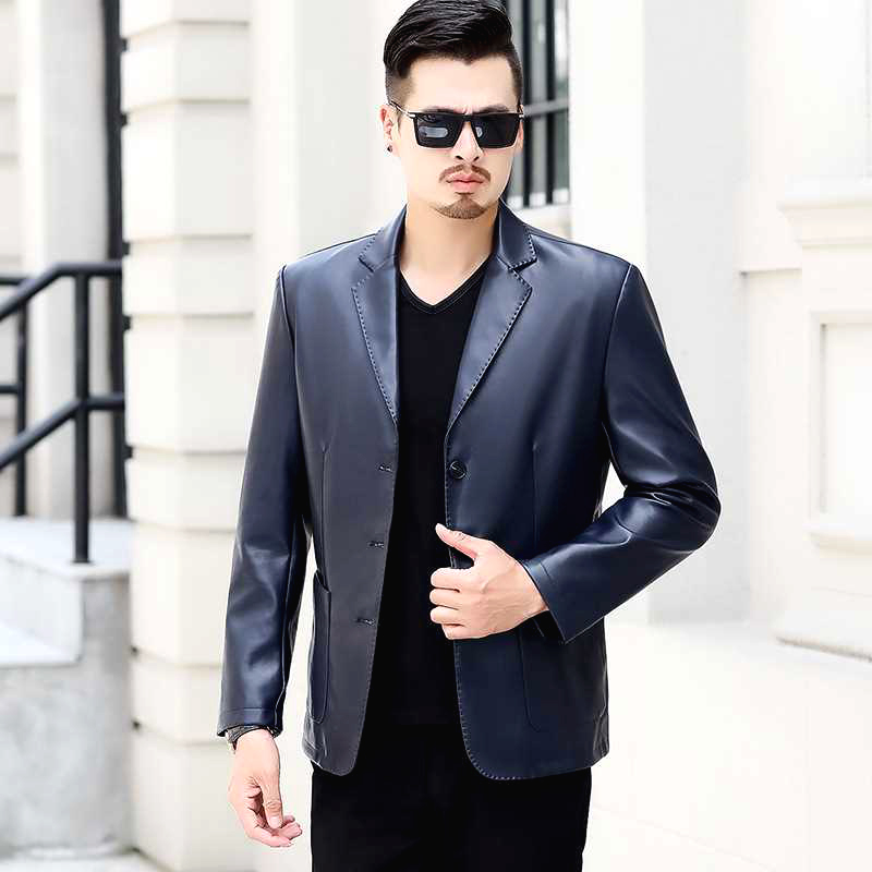 Men Leather Suit 2020 New Spring And Autumn Blazer Male Sheepskin Suit Tops Genuine Split Leather Slim Black Blue Coat P03