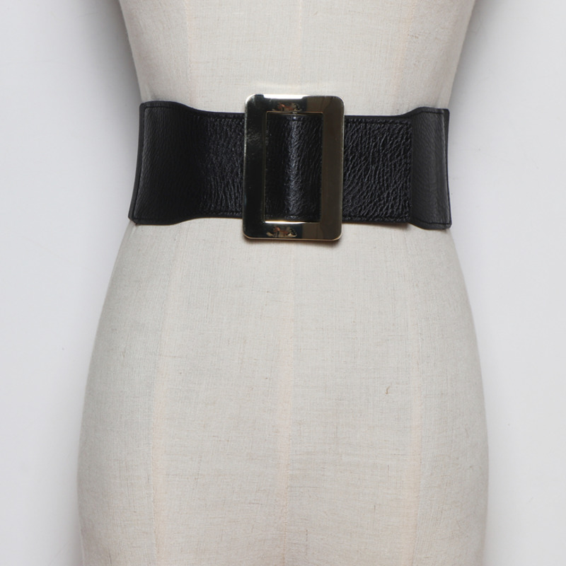 2020 New High Fashion Design Leather Wide Belts For Women Trendy Solid Elastic Corset Belt All-match Waistband Female Tide ZL110
