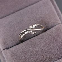 Lovely Cute Crystal Rings for Girls 925 Silver Star & Moon Simple Small Style Wedding Engagement Women Jewelry