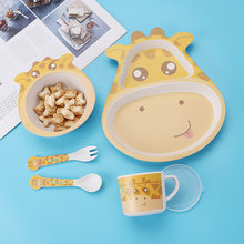Bamboo Fiber Children's Tableware Baby Cartoon Shape 5 Pieces / Set Bowl Dishes Set Creative Grid Dinner Plate Children Gift(China)