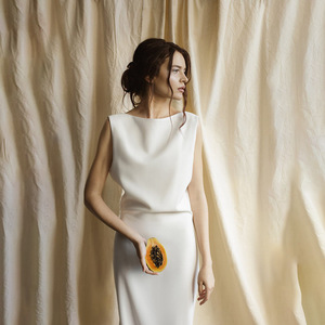 Image 1 - Vestido de novia de seda de 40mm con Espalda descubierta, traje de novia de seda pura hecha a medida, de satén, sencillo, para viajes al bosque