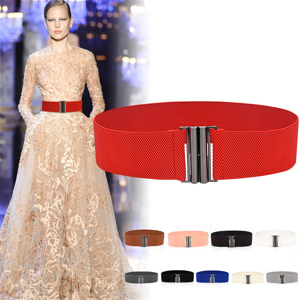 Women girls solid dress adornment wide elastic stretch waist Belt waist band