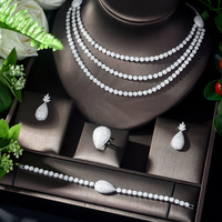 HIBRIDE Trendy Luxury Necklace Dubai Jewelry AAA CZ Bridal Jewelry Sets for Women Wedding Accessories Anniversary N 1121