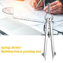 Practical Bow Divider Spring Compasses Multifunction Leather Printing Protractior Compasses Drawing Tool for Engineering