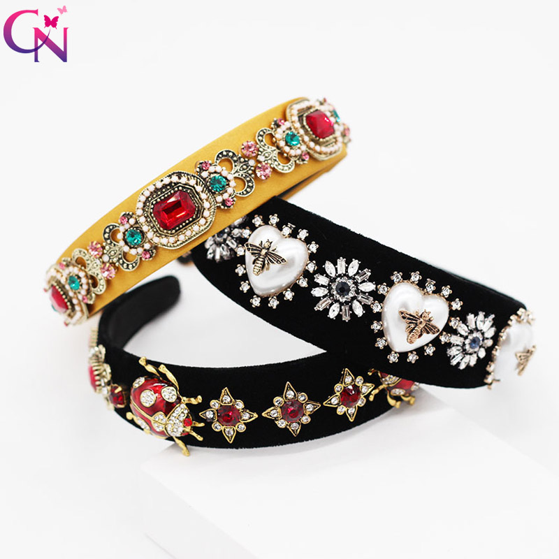 CN Baroque Rhinestone Jewelry Hairbands Luxury Hairhoop Pearl Diamond Headbands Bezel For Girls Womens Headwear Hair Accessories