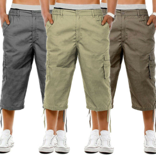 Men's Casual Combat Cargo Shorts 3/4 Sport Pants Beach Elastic Waist Safari Style Trousers US