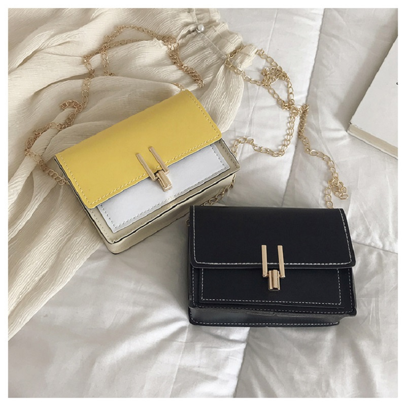 Simple Small Fresh Crossbody Bag Trend Hit Color Triangle Lock Small Square Bag Fashion Wild