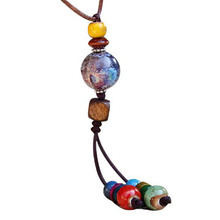 Ethnic Ceramic Beads Sweater Chain Vintage Glass Flower Pendant Necklace Womens Handmade Knitted Rope Jewelry