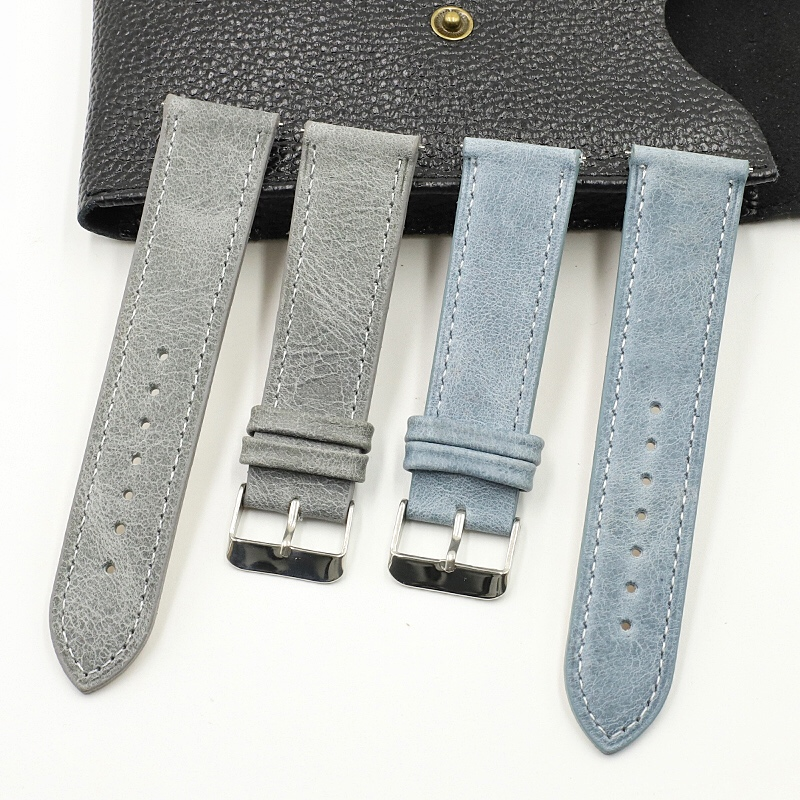 Onthelevel Leather Watch Band Strap 18 20 22mm Gray Blue Brown Man Replacement Belt Watchband Accessories #E