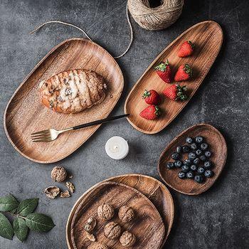 Ovalado irregular planchas de madera de alta calidad de madera de Acacia pastel platos servicio de postre bandeja de Sushi de madera placa vajilla