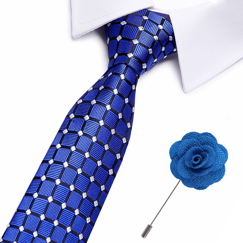 New Male 100% Silk Men's Ties Plaid Striped  Neck Ties 7.5cm Ties With Flower Pin For Men Formal Business Wedding Party Neckties
