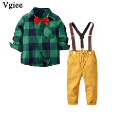 Vgiee Kids Clothes Boys Fall Children Set Plaid Full Turn-down Collar Cotton Boy Clothing Wedding Birthday Party CC738 2018 children cotton pajamas set boys girls cardigan turn down collar solid color clothing kids air conditioning suit homewears