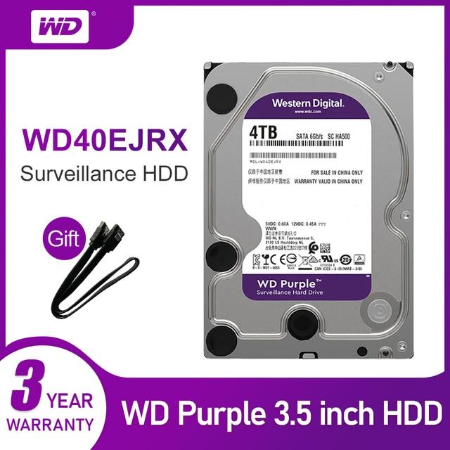 WD mor 4TB HDD gözetim sabit Disk sürücüsü 5400 RPM sınıfı SATA 6 gb/sn 64MB önbellek 3.5 inç WD40EJRX kamera ip
