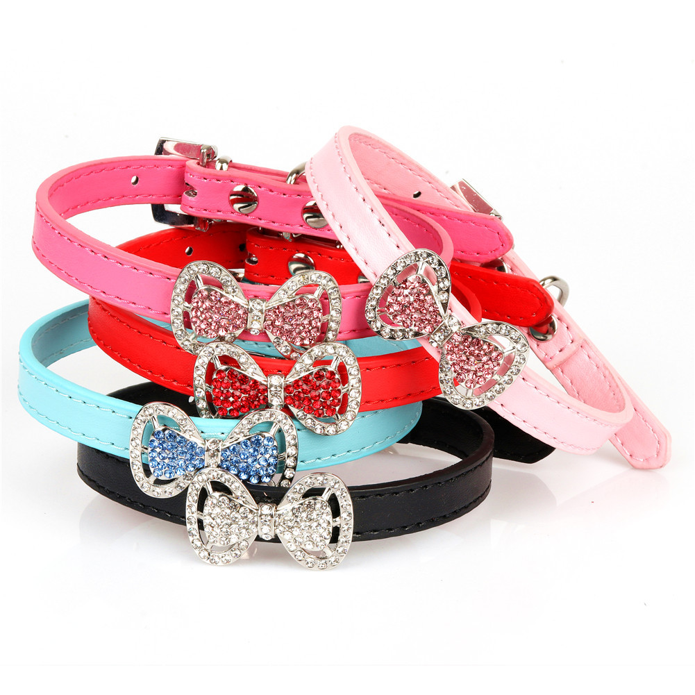 Puppy Collar Cat Supplies Colorful Crystals Bow Crystal Cat Bowtie Collar Small Dogs Bite-proof Protector