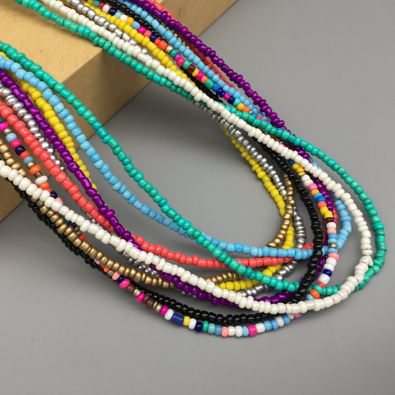 Simple Seed Beads Strand Necklace Women String Beaded Short women Necklace Jewelry 16 inches Chokers Necklace Gift