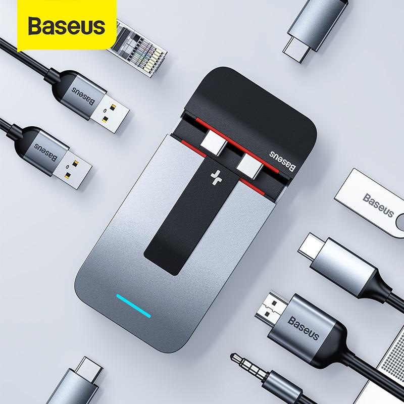 Baseus USB C HUB To HDMI USB 3.0 USB HUB For MacBook Pro Thunderbolt 3 USB Splitter Combined RJ45 Holder 9 In 1 Type C HUB