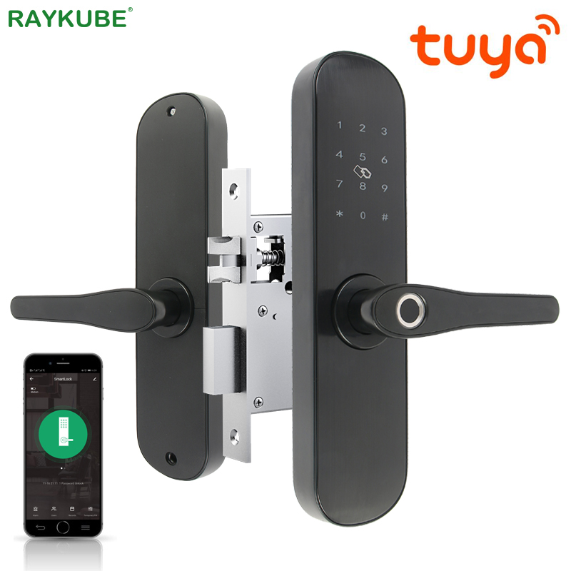 RAYKUBE Wifi Fingerprint Door Lock Tuya APP Keyless Unlock Remotely Digitals Smart Card Intelligent Lock Smart Home R-FG6 Tuya