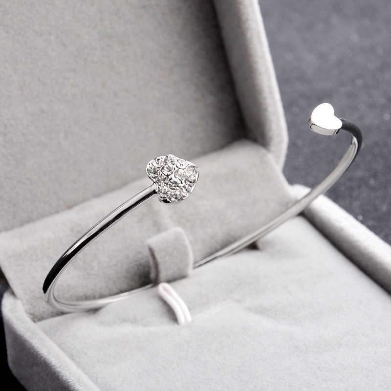 แฟชั่นคริสตัลหัวใจรักคู่สร้อยข้อมือคู่เปิด Rose Gold กำไลและกำไลอุปกรณ์เสริม