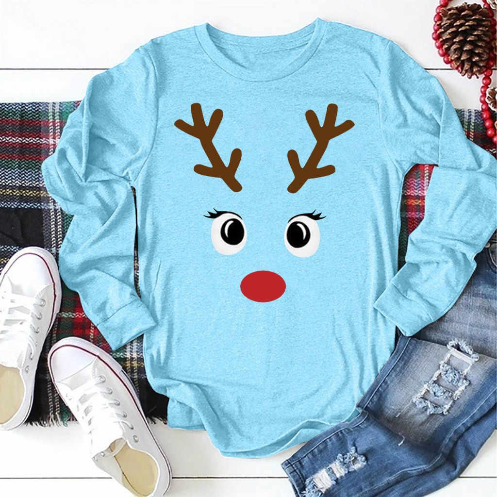 المرأة عيد الميلاد الحيوان تي شيرت مطبوع Kawaii الأيائل كم طويل موضة قميص لطيف الأبيض س الرقبة فضفاضة بلايز عادية Camiseta
