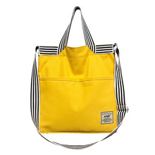 Canvas Handbags Women Shopping Bags Reusable Bag Colour Black Yellow Female Tote Shoulder
