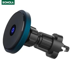 Image 1 - Bonola المغناطيسي سيارة لاسلكي للشحن ل iPhone12/12 برو/12 Mini/12 برو ماكس Magsafe سريع 15 واط سيارة لاسلكية حامل هاتف شاحن