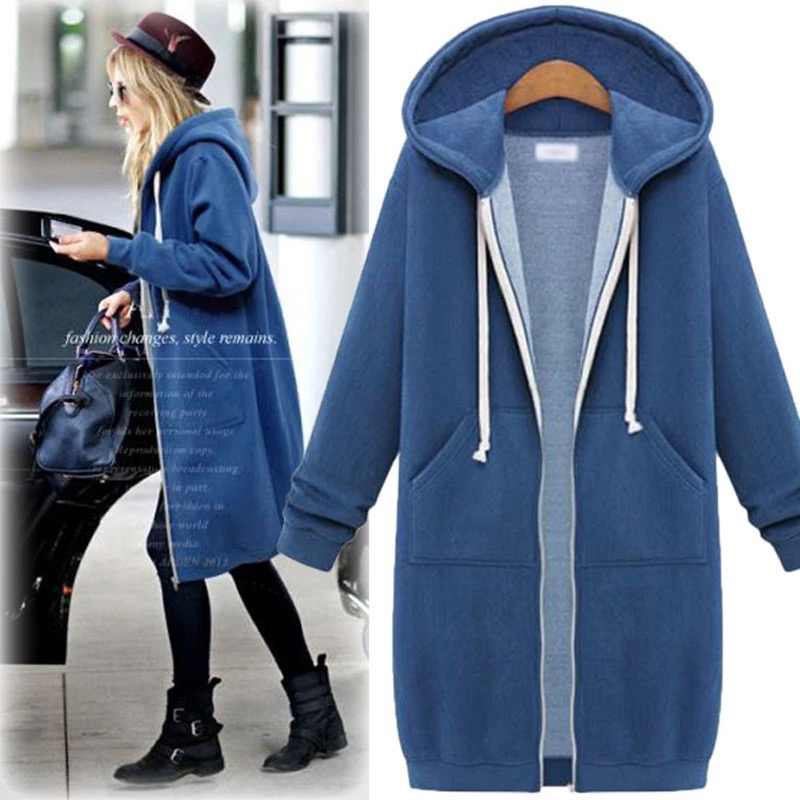 Women Hoodies Sweatshirt Winter Casual Oversize Loose Zipper Women Outwear Fashion Pocket Drawstring Warm Female Long Hoodies