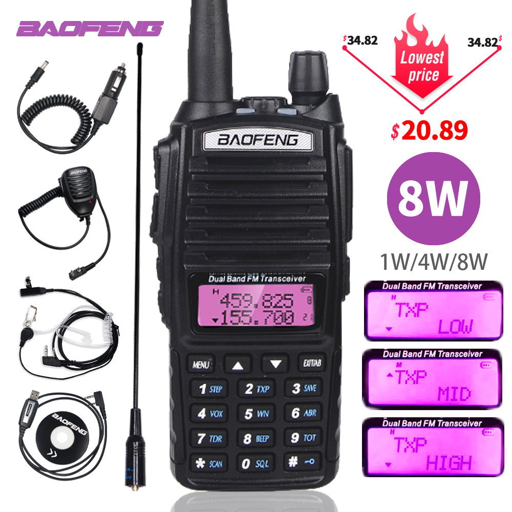 Baofeng UV-82 Walkie Talkie 8W Power Portable Two Way Radio UV82 Tri-Power Dual PTT Ham CB Radio 10KM UV82 Hunting Transceiver