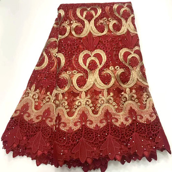 2020 Most popular High Quality African Mesh Lace Fabric Red color Rhinestones Nigerian Tulle Lace Fabric for Party Dress