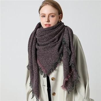 2020 Women Cashmere Scarf Knit Winter Pashmina Lady Luxury Plaid Neck Scarves Warm Shawl Thick Triangle Blanket Echarpe Bandana - discount item  60% OFF Scarves & Wraps