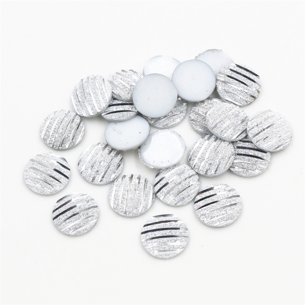 New Fashion 40pcs 12mm Silver Colors Scrub Stripe Horizontal Line Flat Back Resin Cabochon For Bracelet Earrings Accessories