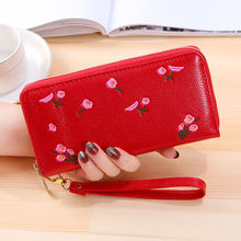 Luxury Women Wallet PU Leather Purse Female Long Wallet Pink Flower Pouch Handbag For Women Coin Purse Card Holders Clutch Color
