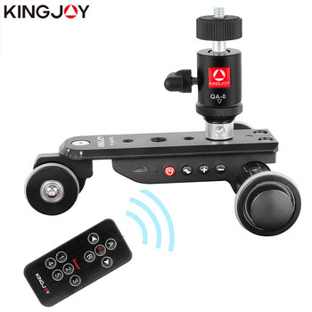 KINGJOY PPL-06SPRO Camera Slider Dolly Car Rail Systems Time Lapse Electric Motorized Dolly Car For Camera Phone Camcorder Dslr yelangu l3 intelligent electric video dolly 3 wheel pulley car rail rolling track slider skater for dslr camera camcorder smar