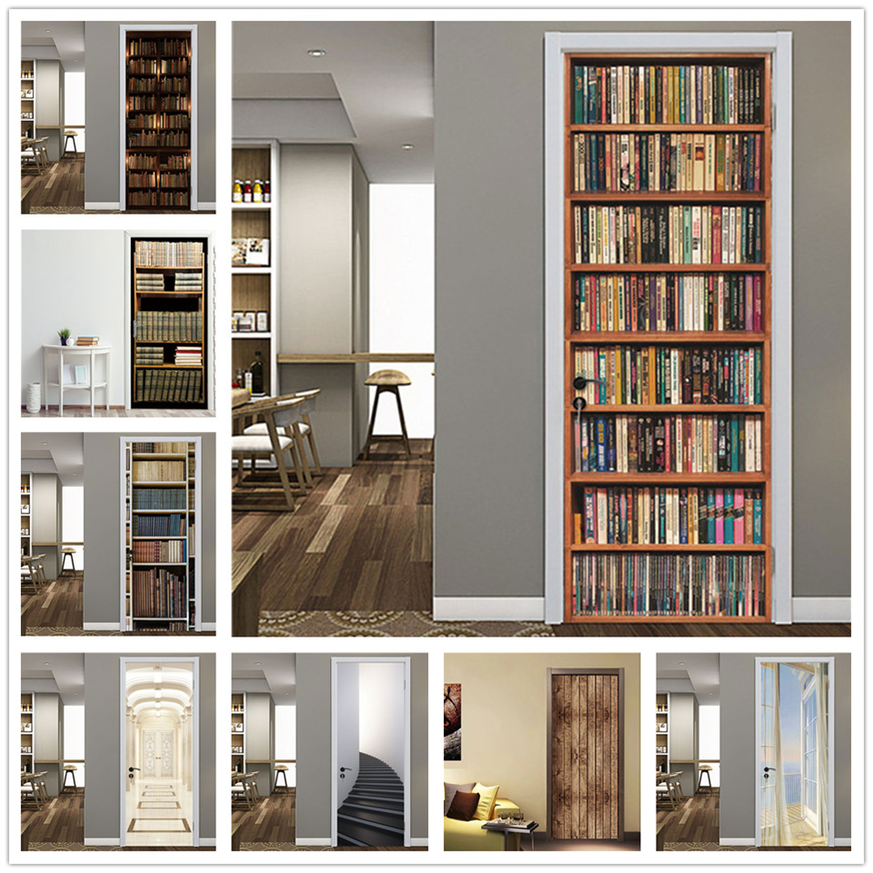 2PCS/Set Retro Library 3D Adhesive Door Wallpaper Waterproof Home Decor Living Room Mural Decal Sticker Book Of The Ocean Poster