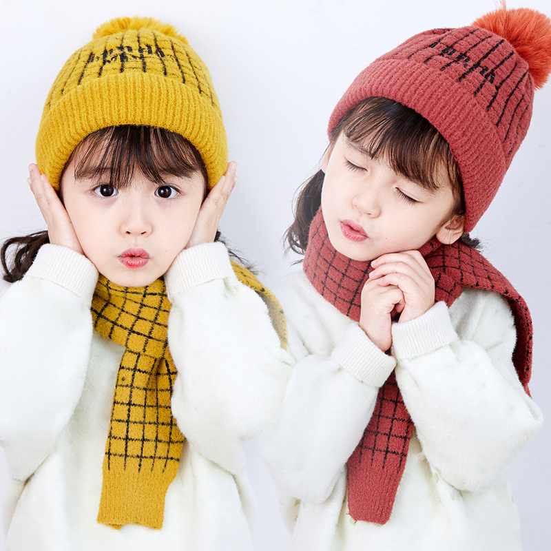 2019 Pompom Children's Wool Hat Autumn Winter Baby Set Hat Plaid Scarf Two-piece Set Warm Knitted Hat Cold-proof Wholesale