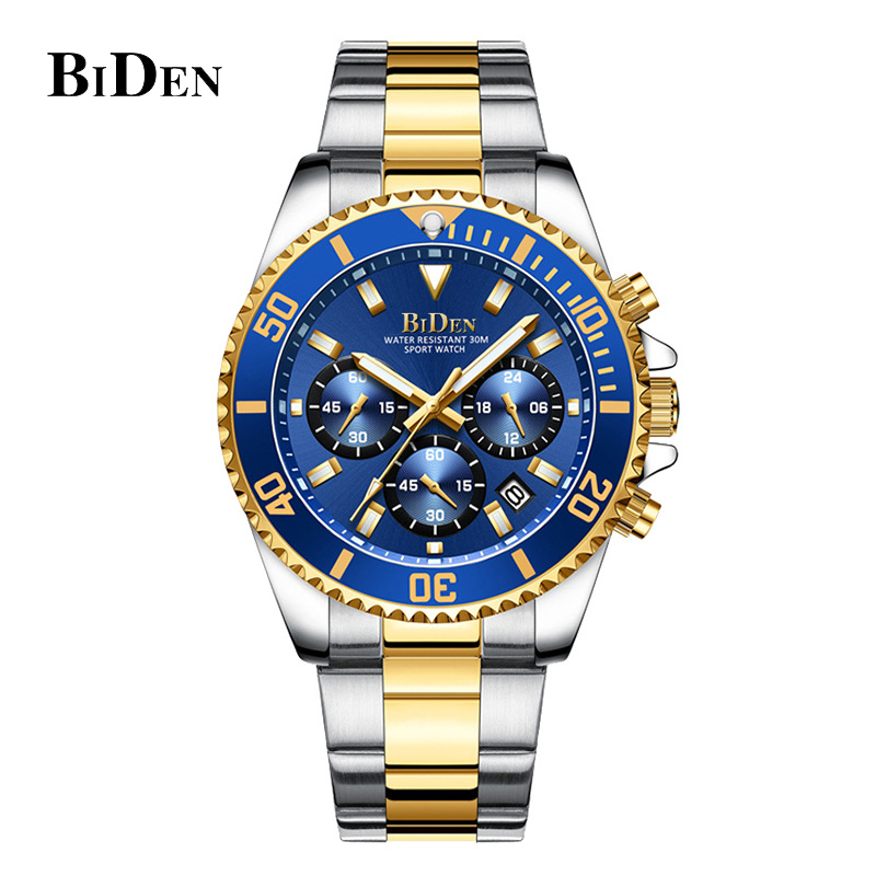 BIDEN Luxury Mens Watches Sports Chronograph Waterproof Analog 24 Hour Date Quartz Watch Men Fashion Wrist Rolexable Clock 2020
